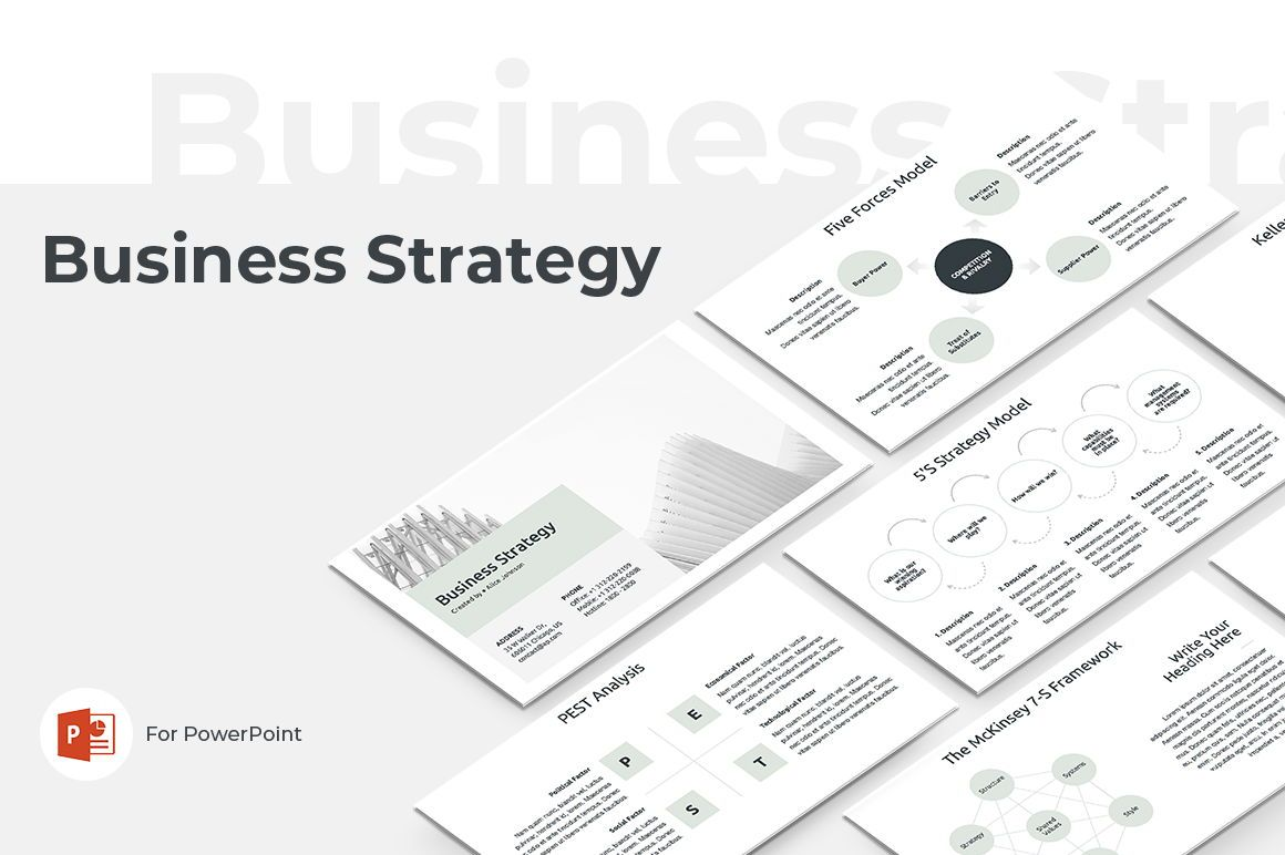 Business Strategy PowerPoint Template, 04525, 비즈니스 모델 — PoweredTemplate.com