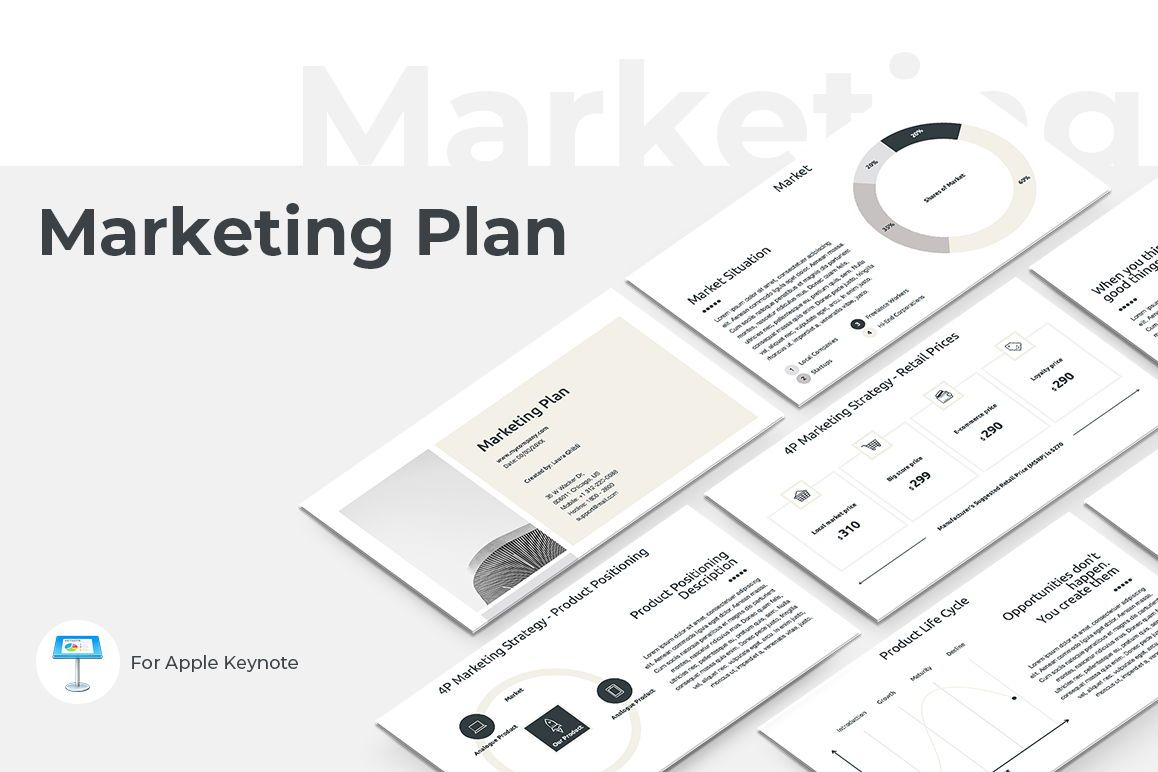 Marketing Plan Keynote Presentation Template, 04528, Modelos de negocios — PoweredTemplate.com