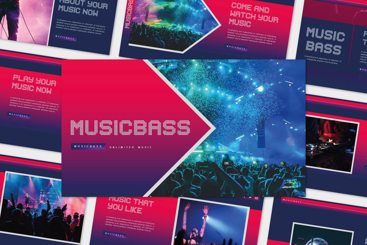 MUSICBASS- PowerPoint Template, 04590, Presentation Templates — PoweredTemplate.com