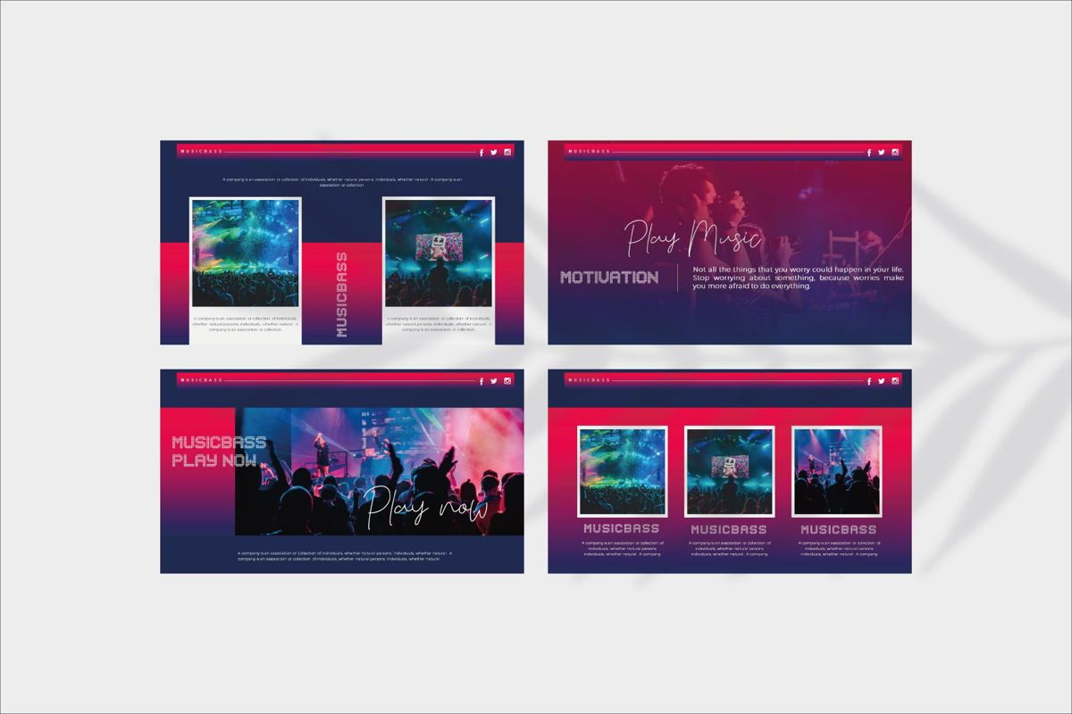 MUSICBASS- PowerPoint Template, Slide 10, 04590, Presentation Templates — PoweredTemplate.com