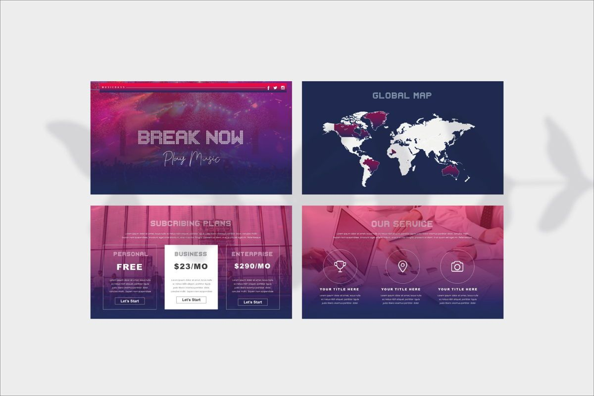 MUSICBASS- PowerPoint Template, Slide 11, 04590, Presentation Templates — PoweredTemplate.com