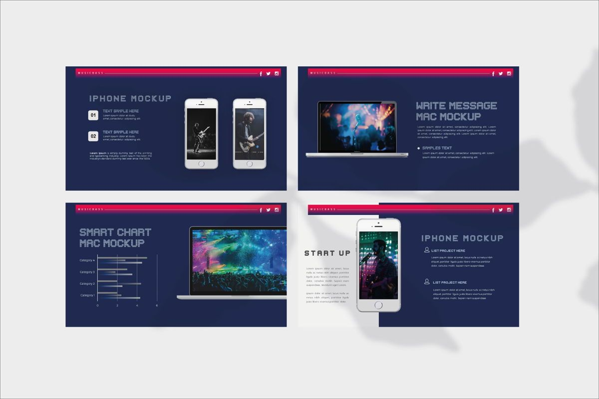 MUSICBASS- PowerPoint Template, Slide 12, 04590, Presentation Templates — PoweredTemplate.com