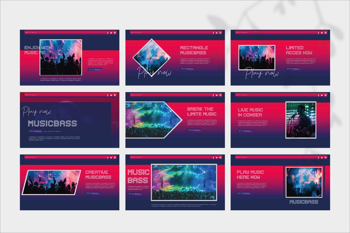 MUSICBASS- PowerPoint Template, Slide 9, 04590, Presentation Templates — PoweredTemplate.com