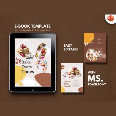 Presentation Templates: Recipe Cake Bakery eBook PowerPoint Template #04714