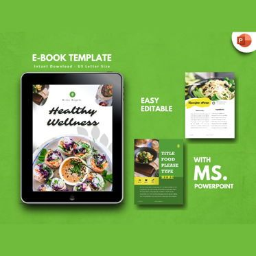 Presentation Templates: Recipe Vegan eBook PowerPoint Template #04716
