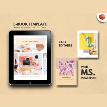 Presentation Templates: Cosmetic Makeup Tips eBook PowerPoint Template #04719