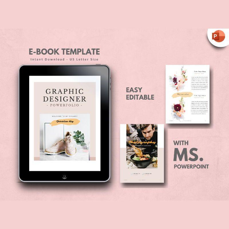 Creative Portfolio eBook PowerPoint Template, 04721, Presentation Templates — PoweredTemplate.com