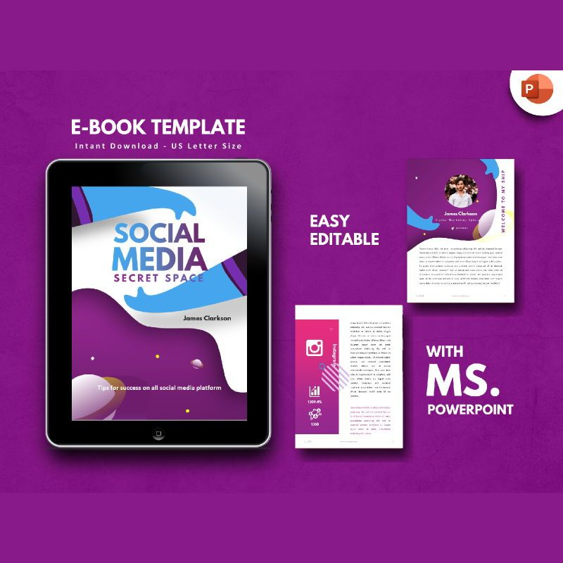 Social Media Secret eBook PowerPoint Template, 04722, Infographics — PoweredTemplate.com