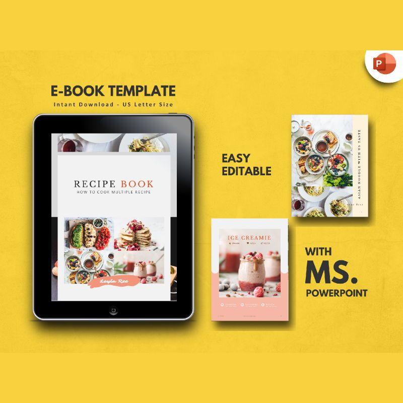 Minimal Recipe eBook PowerPoint Template, 04723, Presentation Templates — PoweredTemplate.com