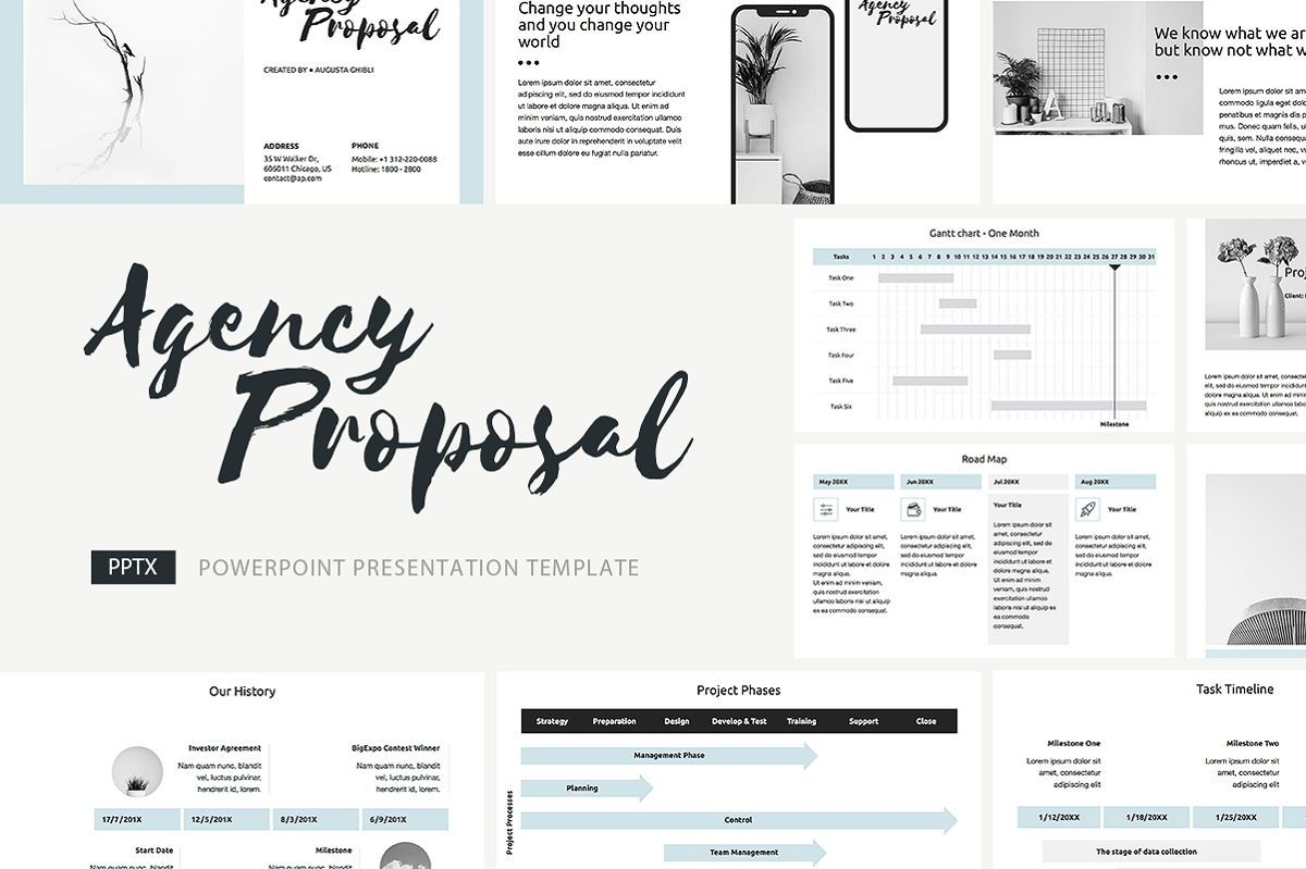 Agency Proposal PowerPoint Template, 04743, Infographics — PoweredTemplate.com