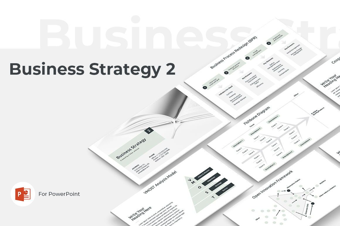 Business Strategy 2 PowerPoint Presentation Template, 04748, Presentation Templates — PoweredTemplate.com