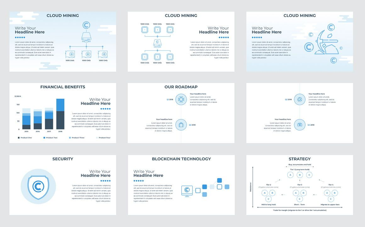 CryptoCurrency PowerPoint Presentation Template, Slide 3, 04752, Presentation Templates — PoweredTemplate.com