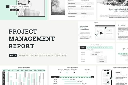 Presentation Templates: Project Management Report Presentation PowerPoint #04757