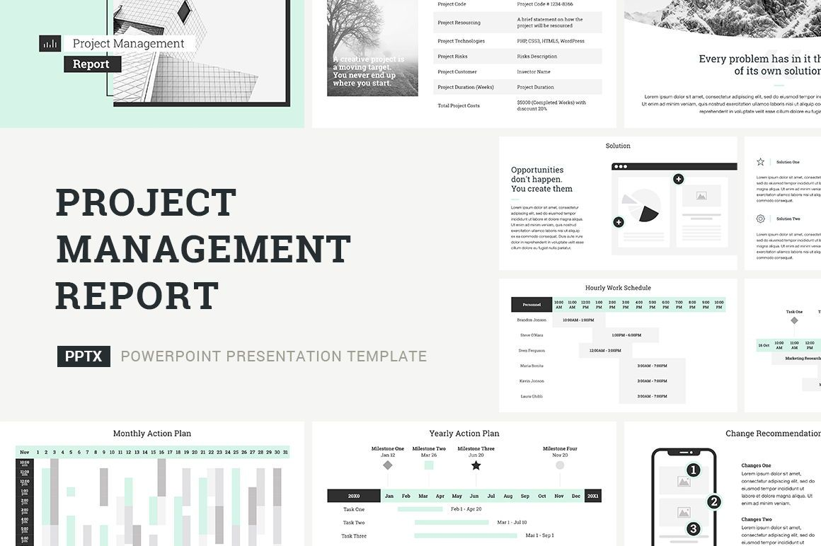 Project Management Report Presentation PowerPoint, 04757, Presentation Templates — PoweredTemplate.com