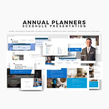 Business Models: Annual Planner Presentation PowerPoint Template #04767