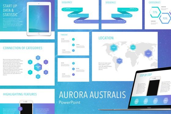 Presentation Templates: Aurora Australis PowerPoint Template #04784