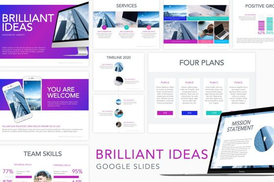 Presentation Templates: Brilliant Ideas Google Slides Template #04787