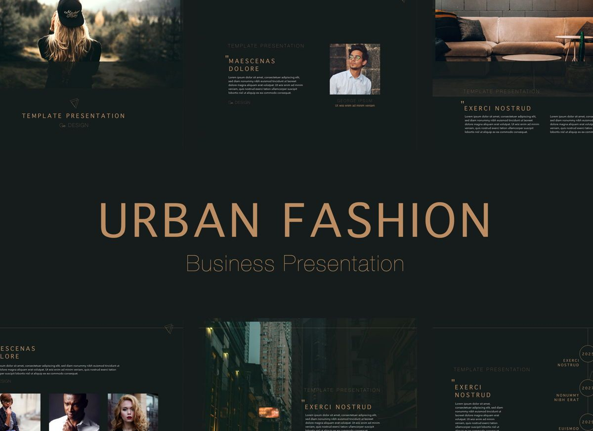 Urban Fashion Keynote Presentation Template, 04796, Business Modelle — PoweredTemplate.com