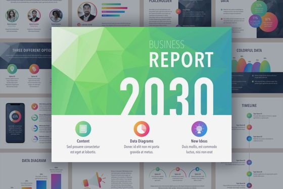 Presentation Templates: Business Report Colorite Keynote Template #04815