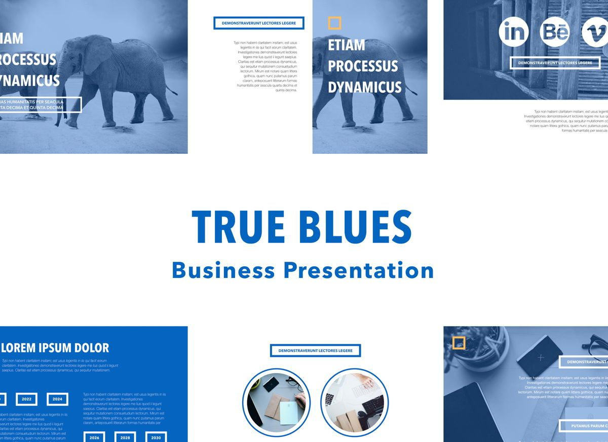 True Blues Powerpoint Presentation Template, 04822, Business Models — PoweredTemplate.com
