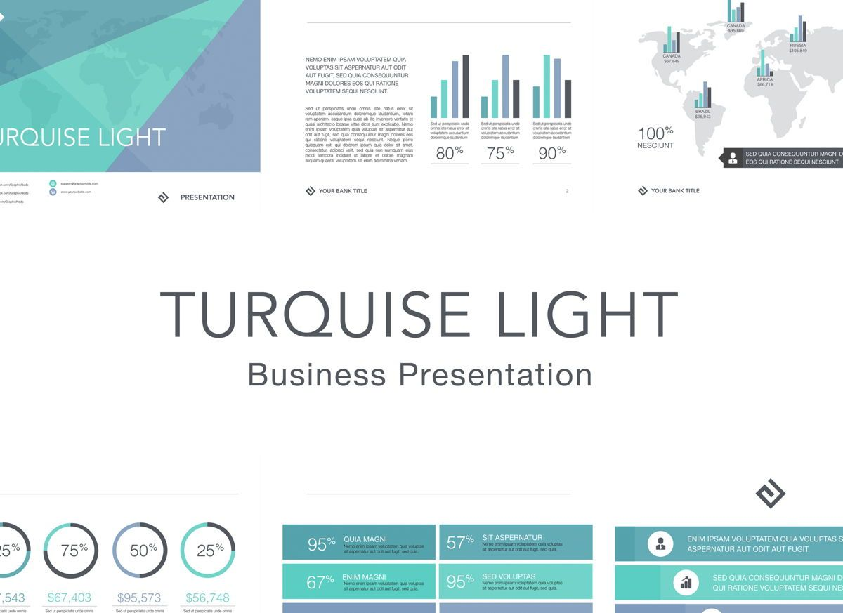 Turquoise Light Powerpoint Presentation Template, 04823, Business Models — PoweredTemplate.com
