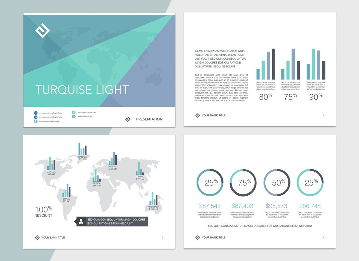 Turquoise Light Powerpoint Presentation Template, Folie 2, 04823, Business Modelle — PoweredTemplate.com