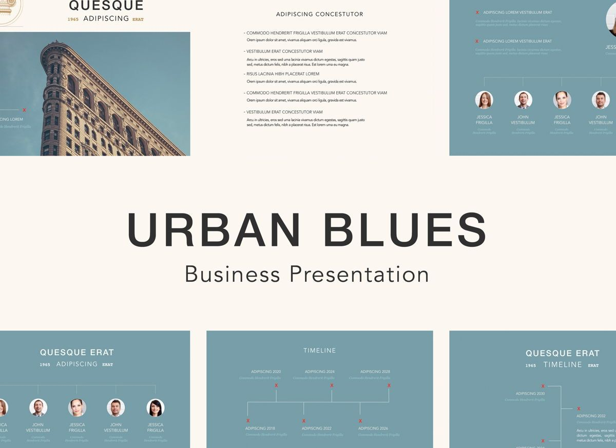 Urban Blues Powerpoint Presentation Template, 04825, Business Models — PoweredTemplate.com