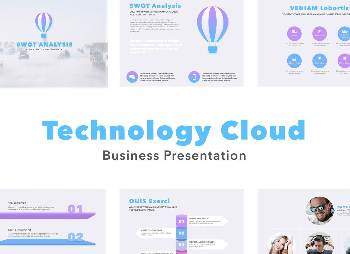 Technology Cloud Powerpoint Presentation Template, 04842, Business Models — PoweredTemplate.com
