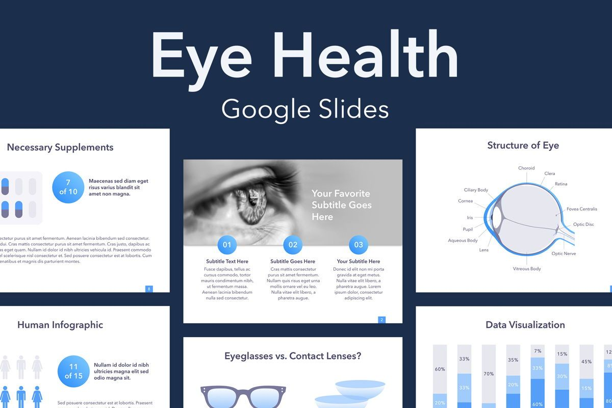 Eye Health Google Slides Template, 04845, Medical Diagrams and Charts — PoweredTemplate.com
