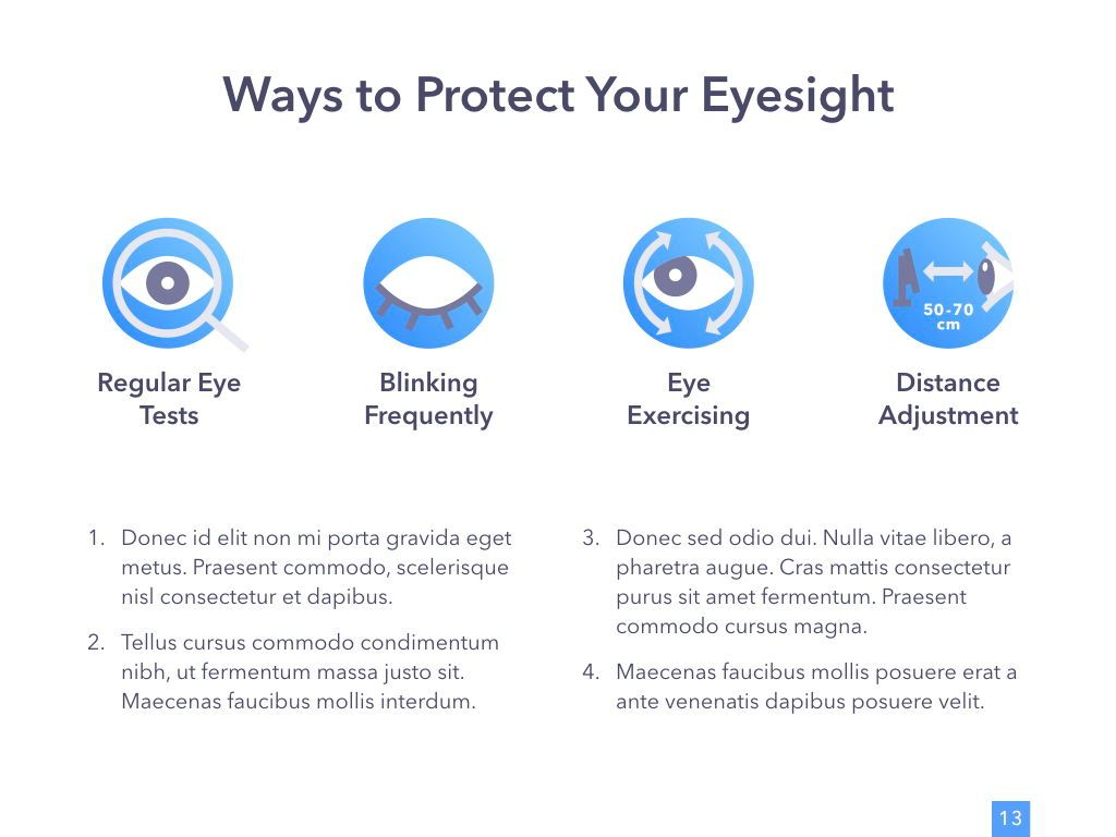 Eye Health Google Slides Template, Slide 14, 04845, Medical Diagrams and Charts — PoweredTemplate.com