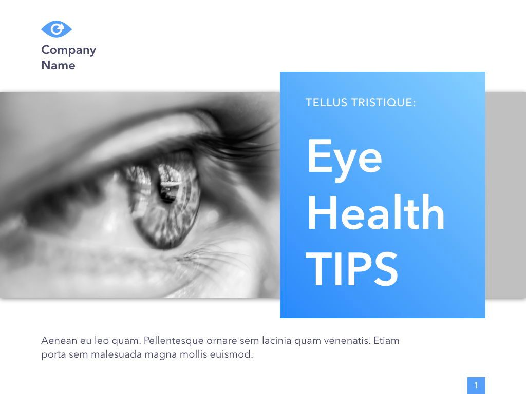 Eye Health Google Slides Template, Slide 2, 04845, Medical Diagrams and Charts — PoweredTemplate.com