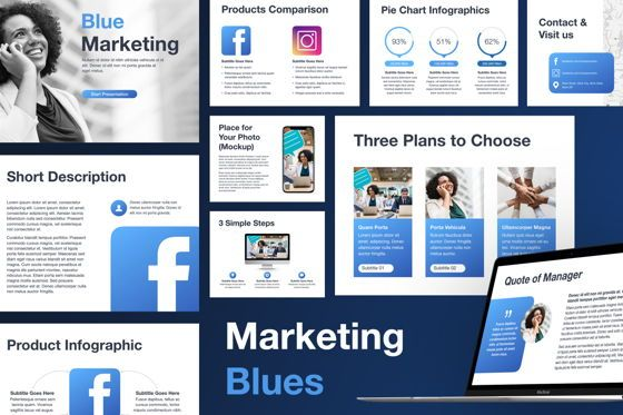 Presentation Templates: Marketing Blues Keynote Template #04854