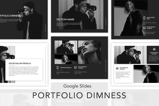 Presentation Templates: Portfolio Dimness Google Slides Template #04859