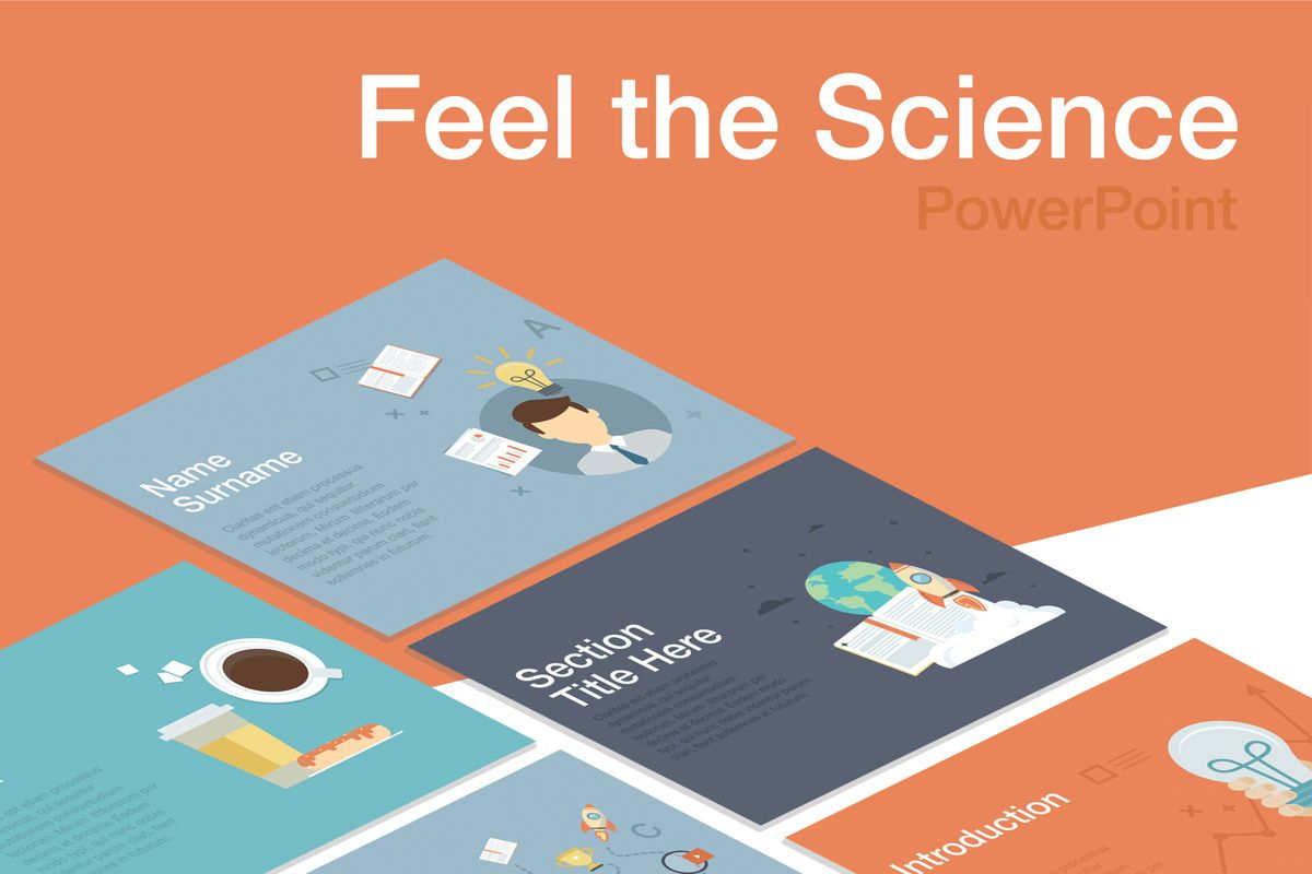 Feel the Science PowerPoint Template, 04862, Education Charts and Diagrams — PoweredTemplate.com