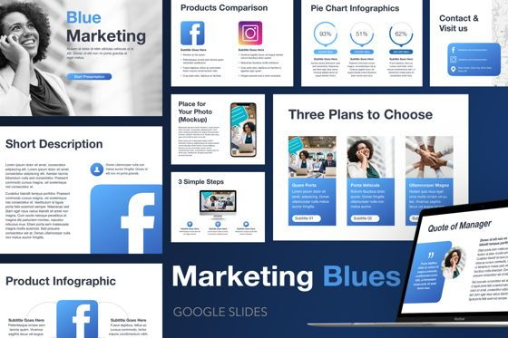 Presentation Templates: Marketing Blues Google Slides Theme #04869
