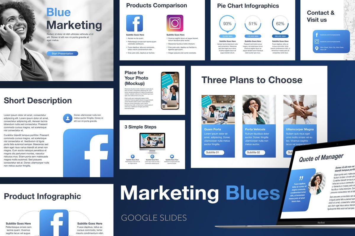 Marketing Blues Google Slides Theme, 04869, Presentation Templates — PoweredTemplate.com