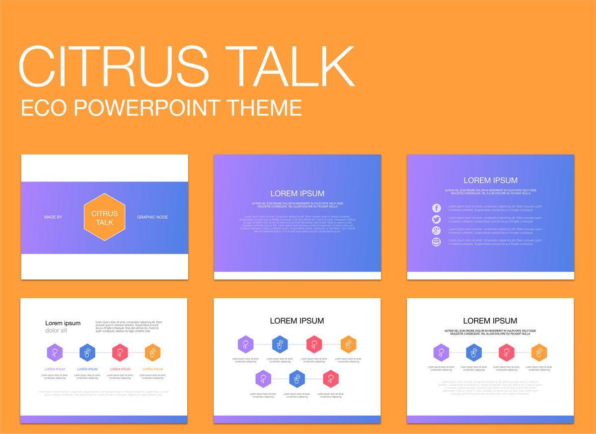 Citrus Talk 02 Powerpoint Presentation Template, 04897, Modelos de Negócio — PoweredTemplate.com