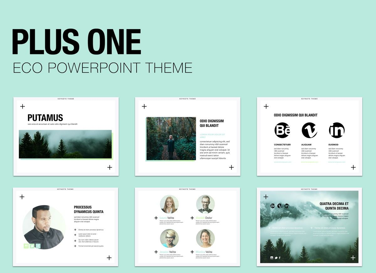 Plus One Powerpoint Presentation Template, 04905, Business Models — PoweredTemplate.com