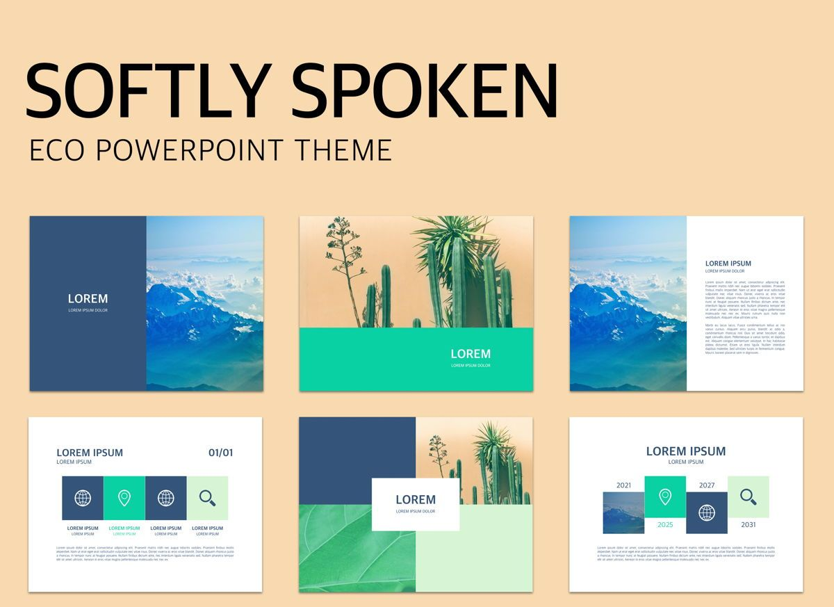 Softly Spoken Powerpoint Presentation Template, 04906, Business Models — PoweredTemplate.com