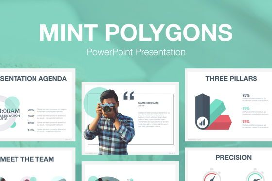 Presentation Templates: Mint Polygons PowerPoint Template #04930