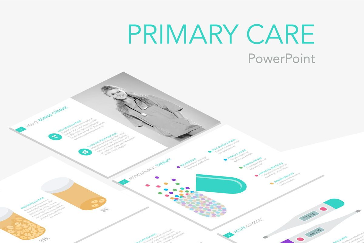 Primary Care PowerPoint Template, 04943, Medical Diagrams and Charts — PoweredTemplate.com
