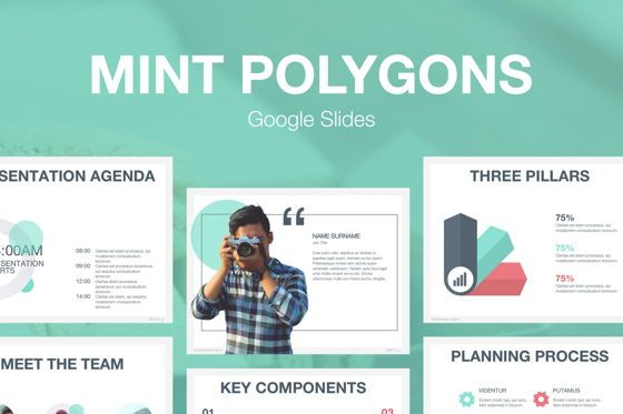Presentation Templates: Mint Polygons Google Slides #04957