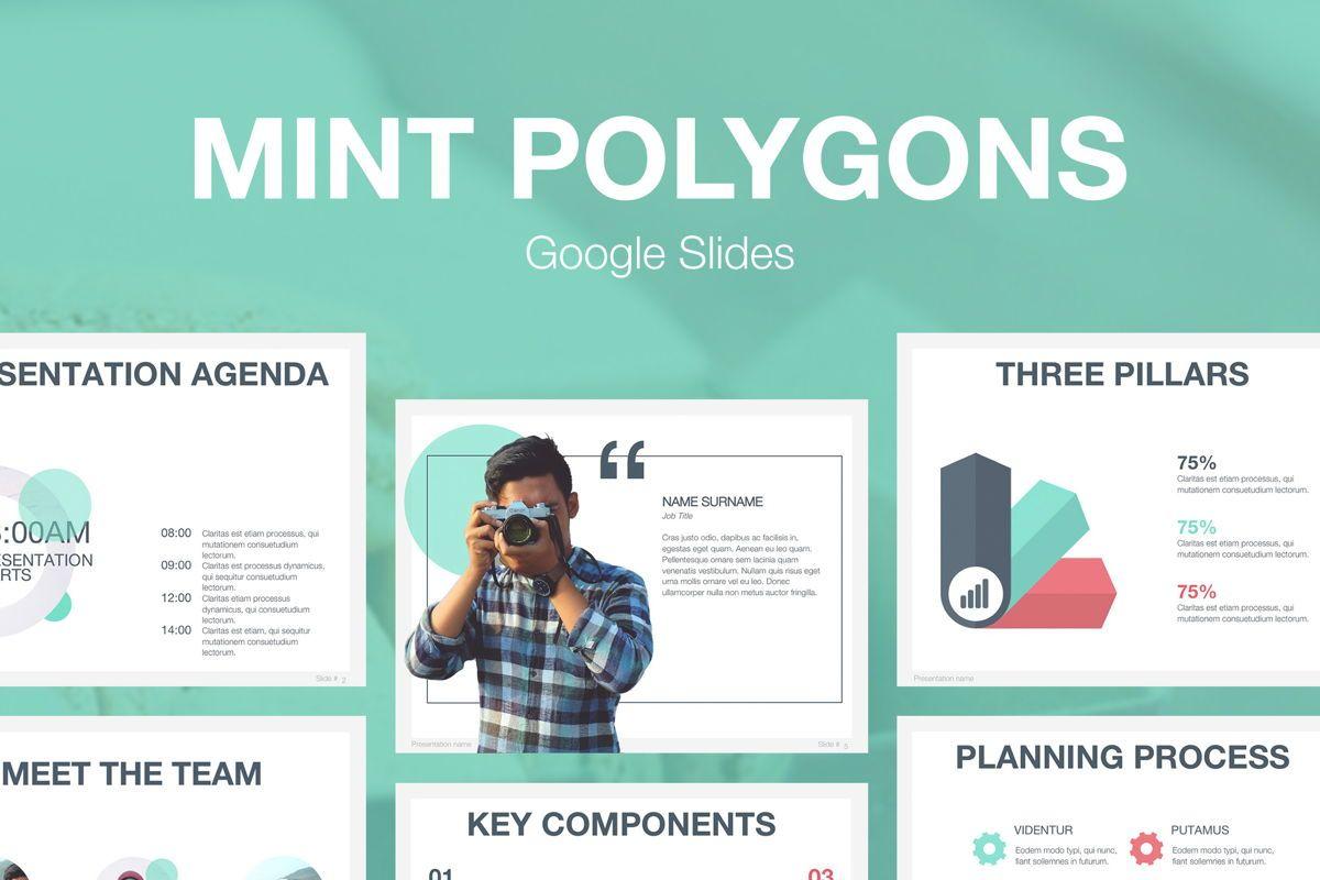 Mint Polygons Google Slides, 04957, Presentation Templates — PoweredTemplate.com