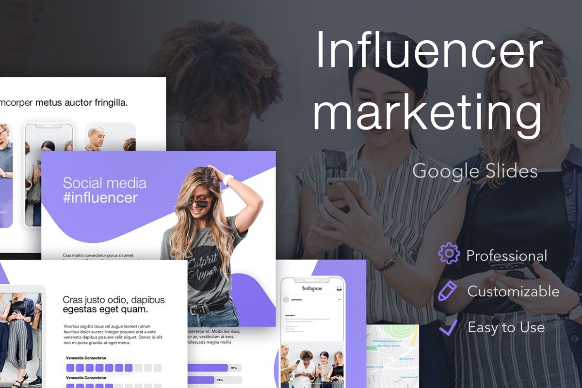 Influencer Marketing Google Slides Theme, 04959, Presentation Templates — PoweredTemplate.com