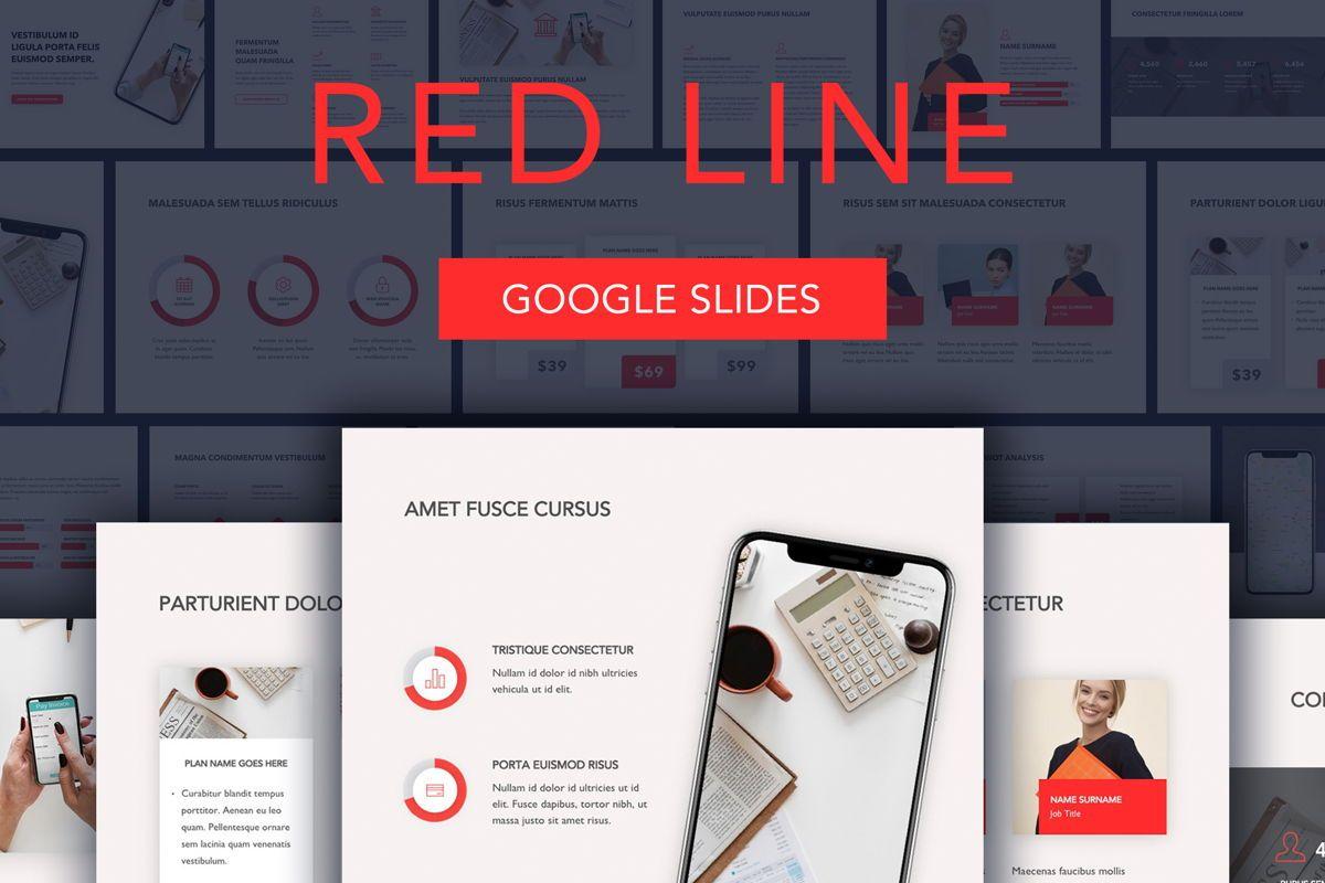 Red Line Google Slides, 04966, Presentation Templates — PoweredTemplate.com