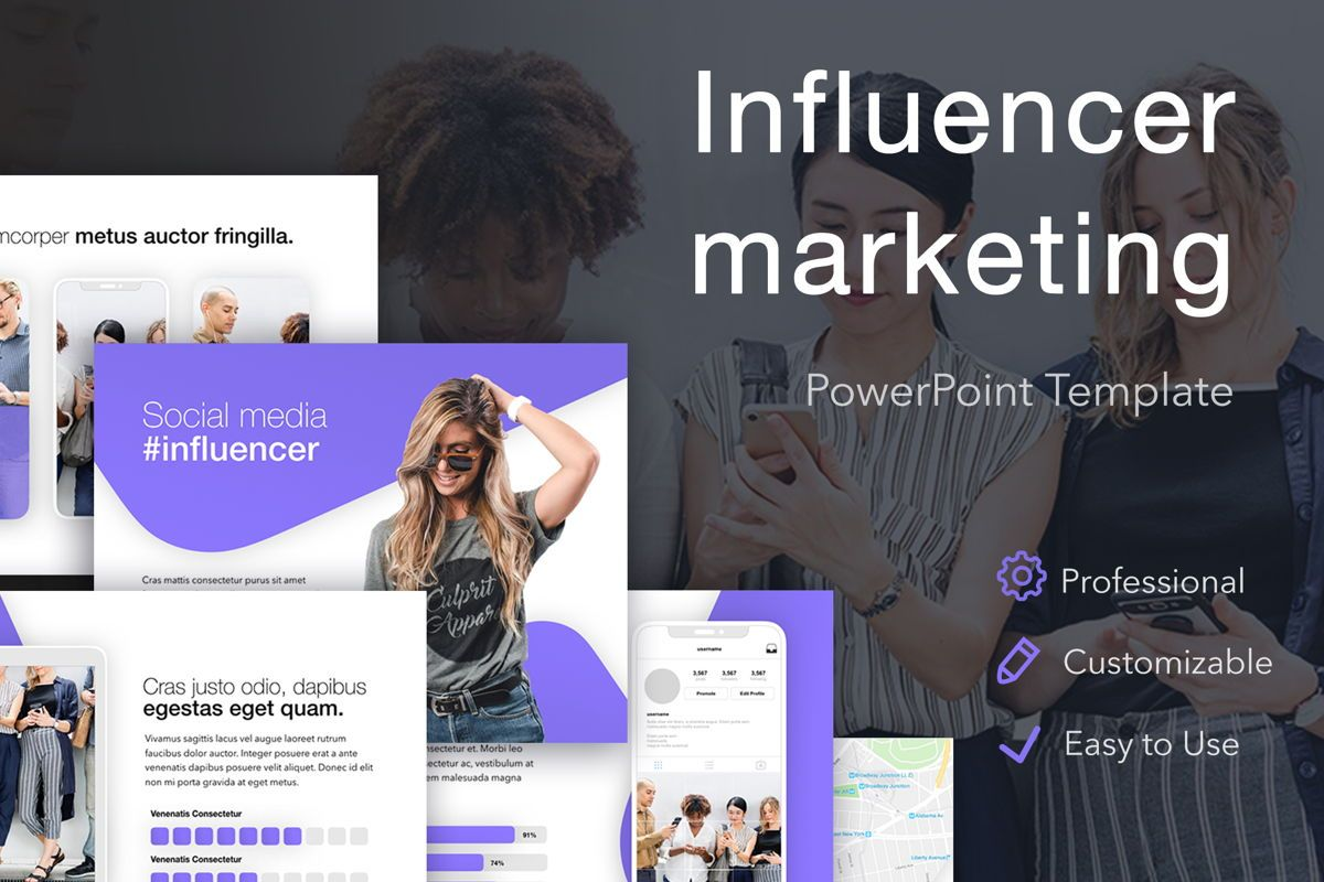 Influencer Marketing PowerPoint Template, 04971, Presentation Templates — PoweredTemplate.com