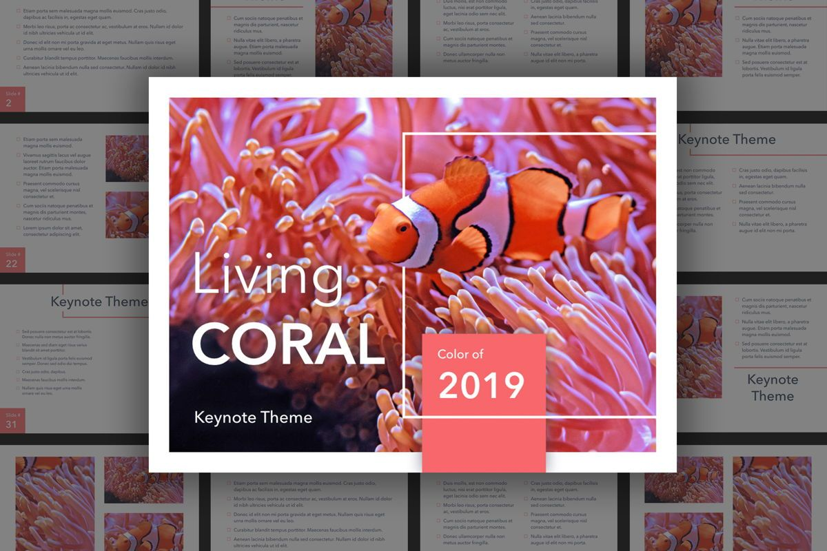 Living Coral Keynote Theme, 04976, Presentation Templates — PoweredTemplate.com