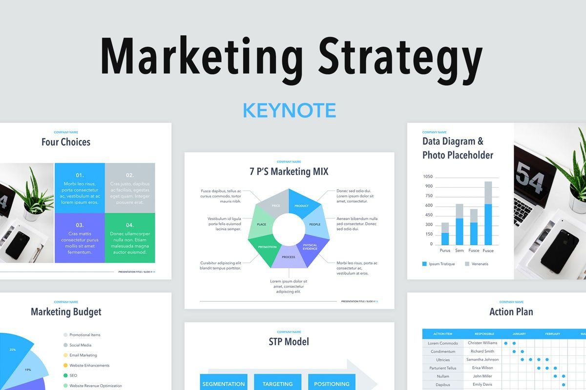 Marketing Strategy Keynote Template, 04978, Business Models — PoweredTemplate.com