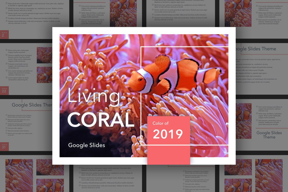 Living Coral Google Slides Theme, 04980, Presentation Templates — PoweredTemplate.com