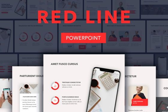 Presentation Templates: Red Line PowerPoint Template #04984